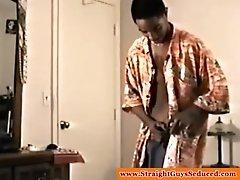 Black straightbait amateur receiving a gay bj
