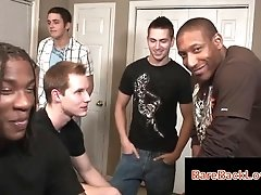 Cute gay guy in interrracial gay orgy