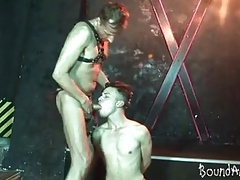 Kinky older dude binds a gay boy for oral SM play